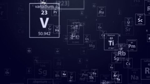 Flying thought the periodical chemical elements on the dark blue background