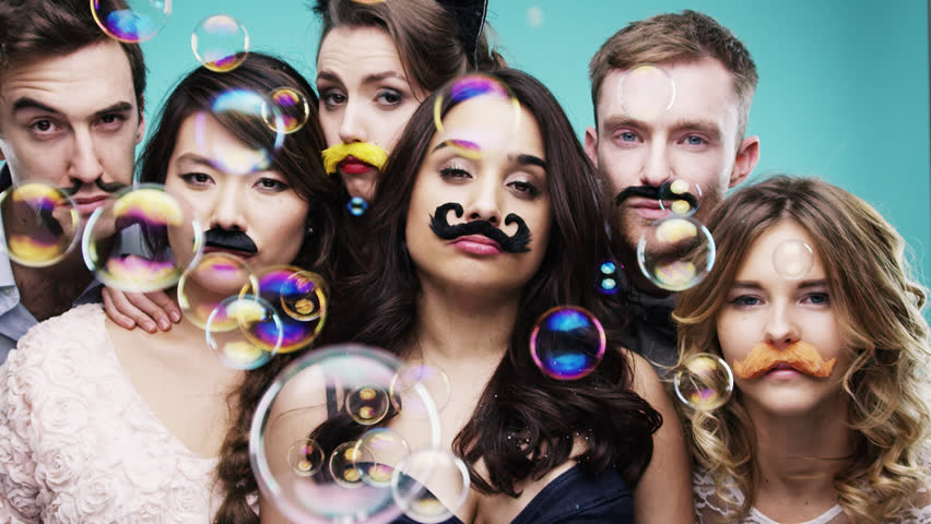 Multi racial group of people wearing false mustache for movember Red Epic Dragon #8762368