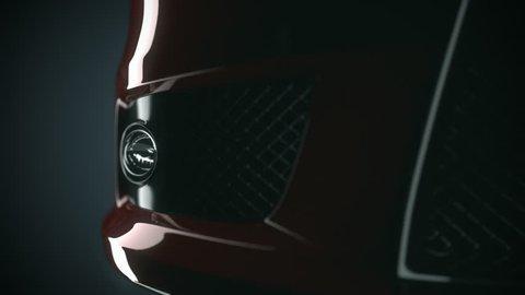 Sport car details. Lights, Air Intake, Mirrors, Spoiler Close-up.