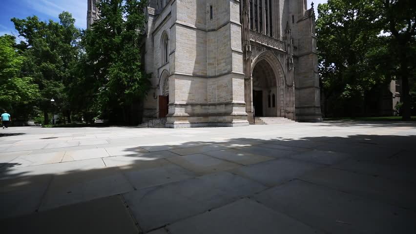 PRINCETON, NJ/USA - JUNE 20, 2014: Tilt up of Princeton University Chapel. Shot in 1080p high definition.