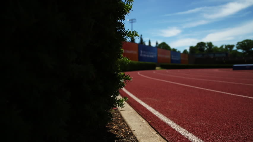 PRINCETON, NJ/USA - JUNE 20, 2014: Dolly shot of track at Princeton University. Track and field 1080p HD.
