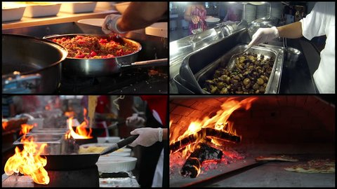 Professional cooking. Team of professional chefs preparing and cooking food in a commercial kitchen. Food Preparation - Montage. Chef Cooking With Fire In Frying Pan. Pizza place. Buffet restaurant.