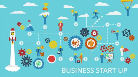 Business start up. Animated scheme with humans, icons and gears. Animation for yours presentation. Available in 4K FullHD HD flat design 2D footage video clip.