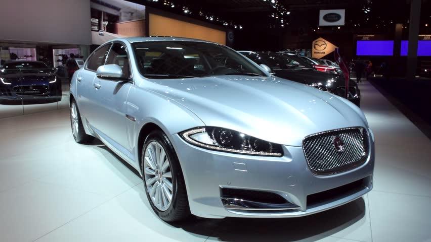 brussels belgium january 15 2015 silver jaguar xf saloon car on display