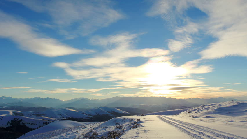 Timelapse sunset in the mountains, Circumhorizontal arc, Northern Caucasus, Russia. FULL HD    Shutterstock HD Video #8845288