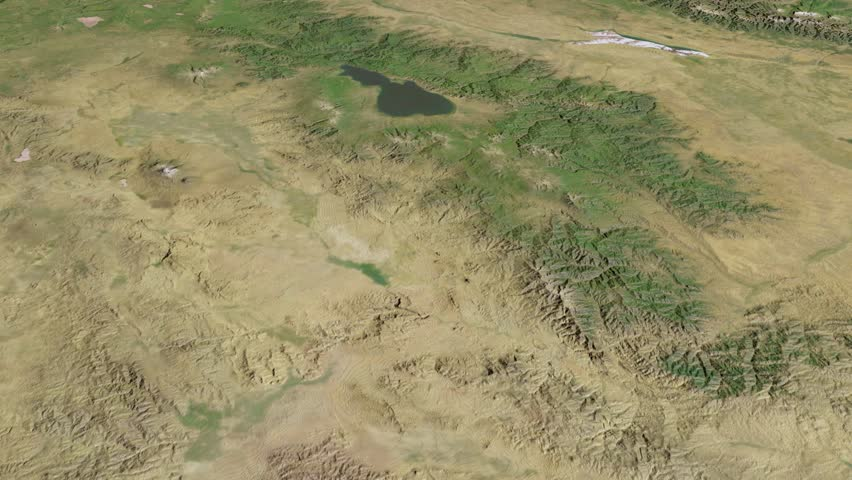Glide over the satellite map of Armenia. Country area highlighted and outlined. Elements of this image furnished by NASA. | Shutterstock HD Video #8854228