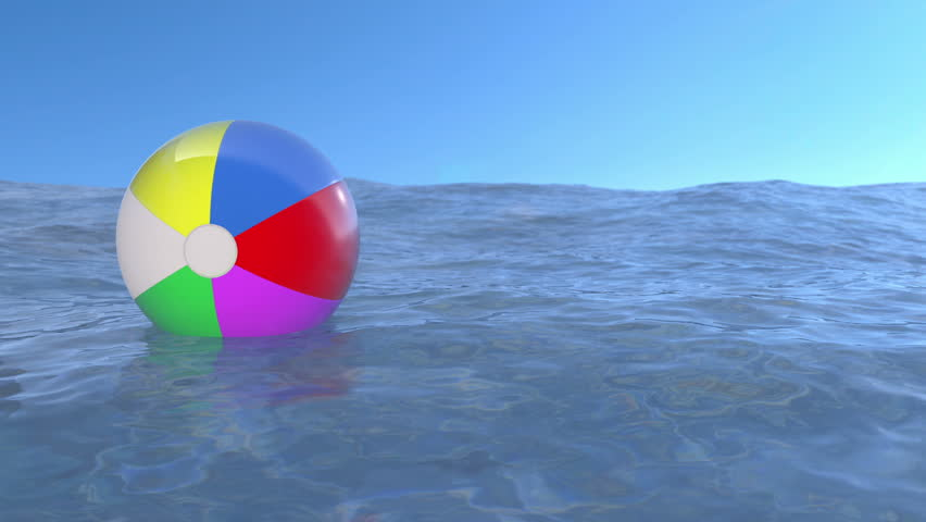 Floating ball on the water. (loop ready animation) - HD stock video clip