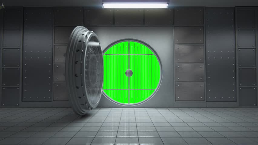 01804 Opening Of The Vault Door In Bank Stock Footage