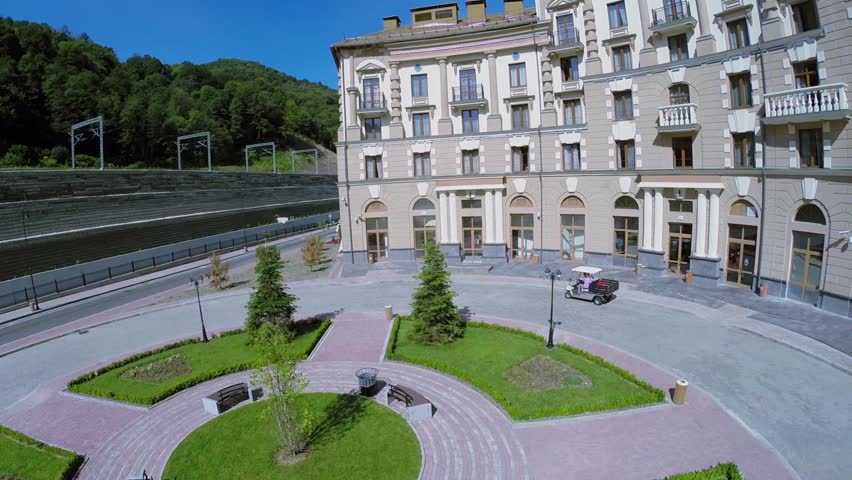 Small Truck Stands Near Edifice Of Hotel At Summer Sunny Day Aerial View Hd