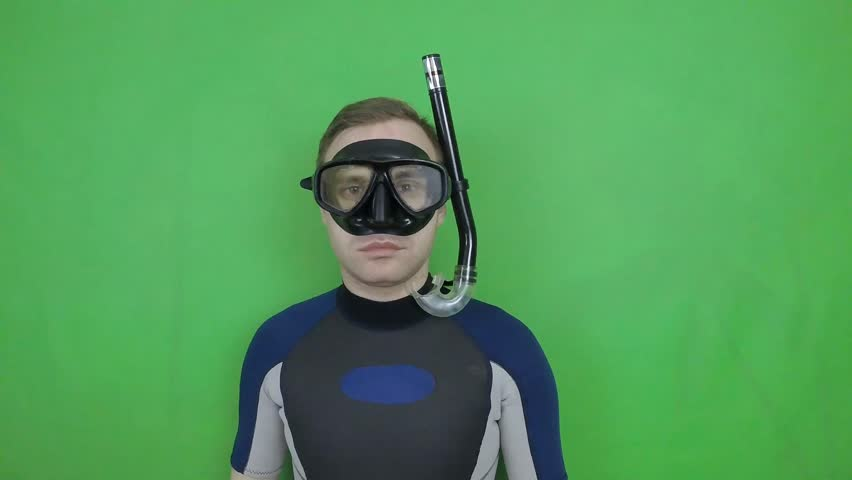 Diving sign- divemaster shows sign TURN BACK from diving course 10 of 14 also  available all diving sign on green screen (with full equipment)