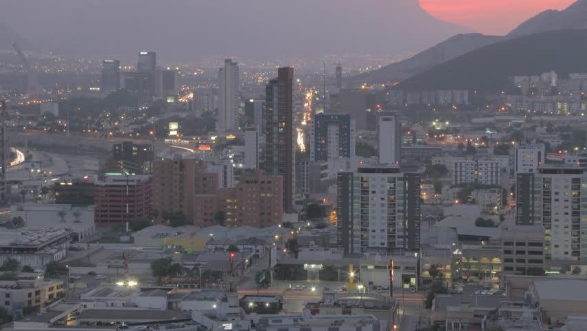 MONTERREY, NUEVO LEÓN, MEXICO - CIRCA 2015, TIME LAPSE 4K: Time Lapse of the City of Monterrey at night, circa 2015 in Monterrey Mexico