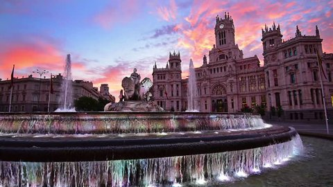 Madrid, Spain at Communication Palace and Cibeles Plaza.
