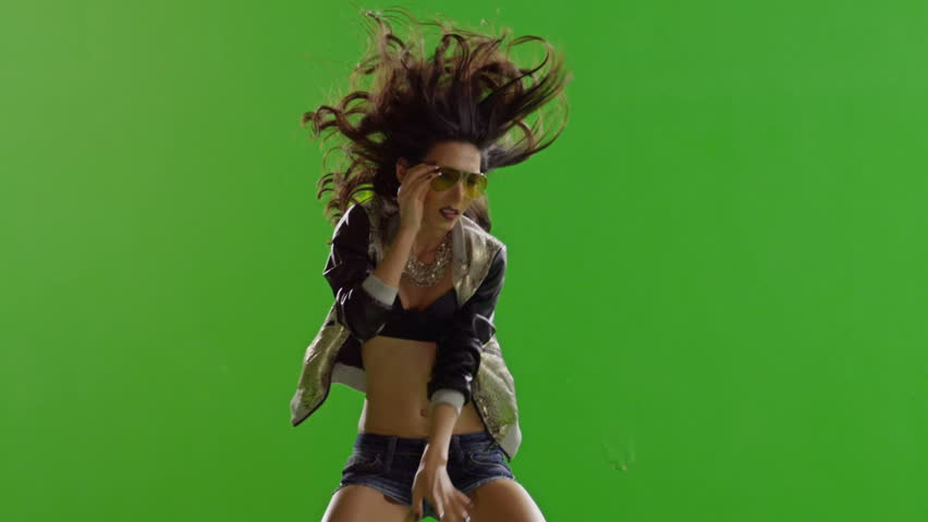 FEW SHOTS! Hot girl dancing. Dances with real strobe lights on body. Slow motion. Green screen. Chroma key. Shot on RED EPIC Cinema Camera.