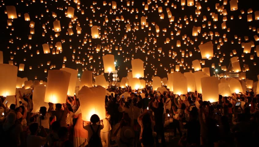 CHIANG MAI, THAILAND - OCTOBER 25, 2014:  Loy Krathong celebration, people release thousands floating lanterns, during Yi Peng festival in Chiang Mai near Mae Jo University. #8947228
