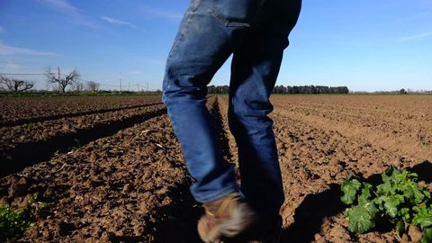 Farmer walks out onto his field and finds hard caked ground after a long dry winter. The farmer picks up a piece of soil and finds hard baked clay ground. Another year of drought in California.