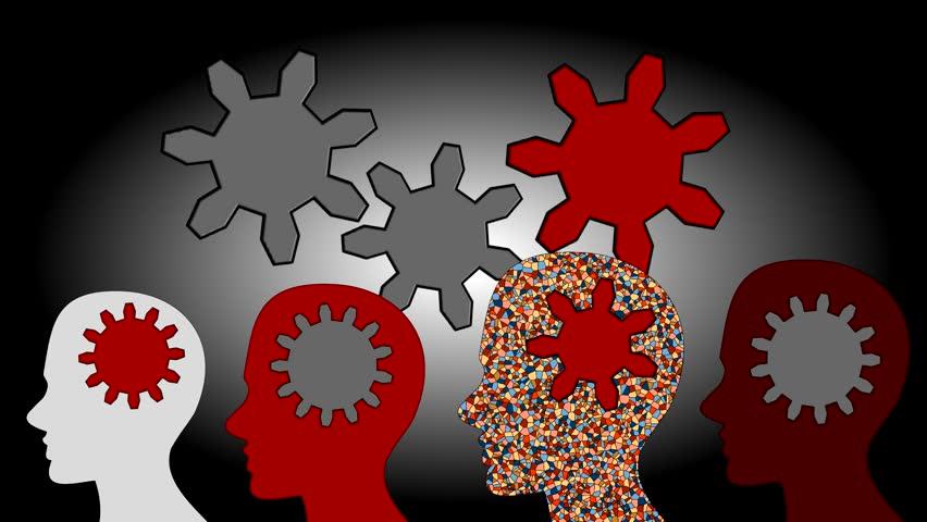 Gears rotate inside the brain power of teamwork, animation, cartoon