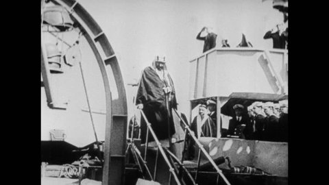 Meeting between King Ibn Saud of Saudi Arabia and President Roosevelt aboard of the cruiser USS Quincy, Great Bitter Lake, Suez Canal, Egypt, February 15, 1945