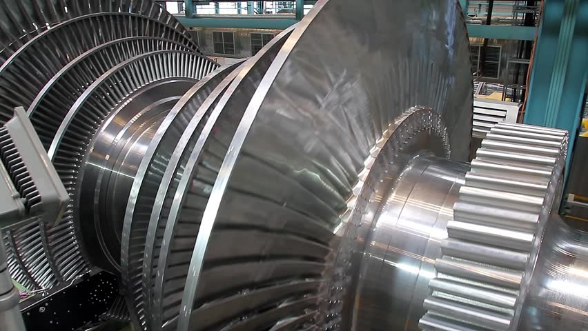 Rotation of turbine blades at a plant producing steam turbines | Shutterstock HD Video #8973655