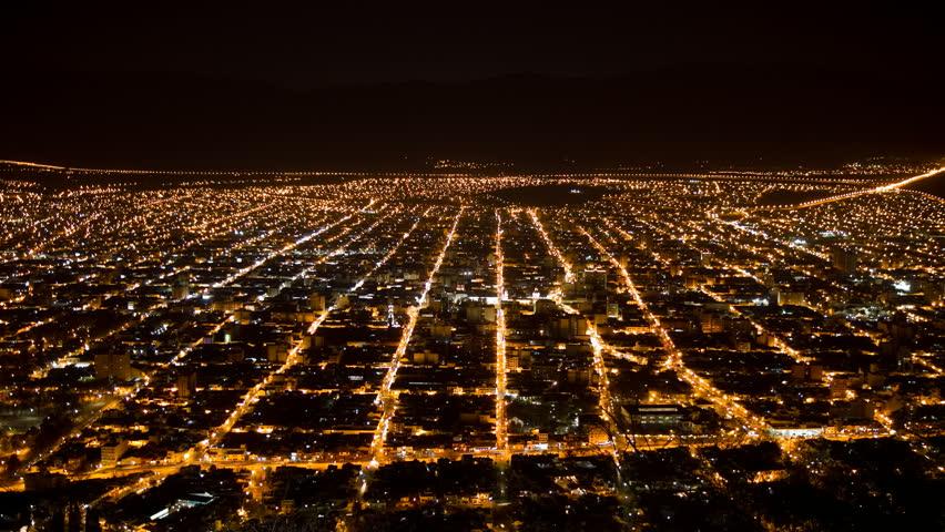 "Salta, Argentina, at night. Panoramic view from ""cerro san bernardo"" hill. Photo time-lapse (1080p25, Can. 7D)."