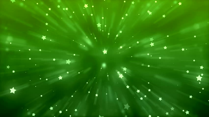 a green starburst shape with particle lights explode