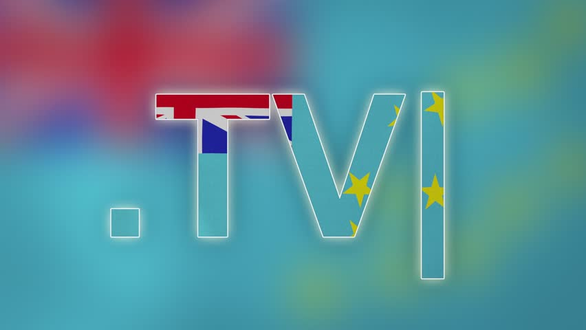 """TV - internet domain of Tuvalu. Typing top-level domain """".TV"""" against blurred waving national flag of Tuvalu. Highly detailed fabric texture for 4K resolution. Source: CGI rendering. Clip ID: ax1055c"""