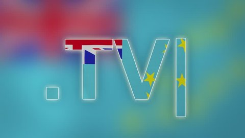 "TV - internet domain of Tuvalu. Typing top-level domain "".TV"" against blurred waving national flag of Tuvalu. Highly detailed fabric texture for 4K resolution. Source: CGI rendering. Clip ID: ax1055c"