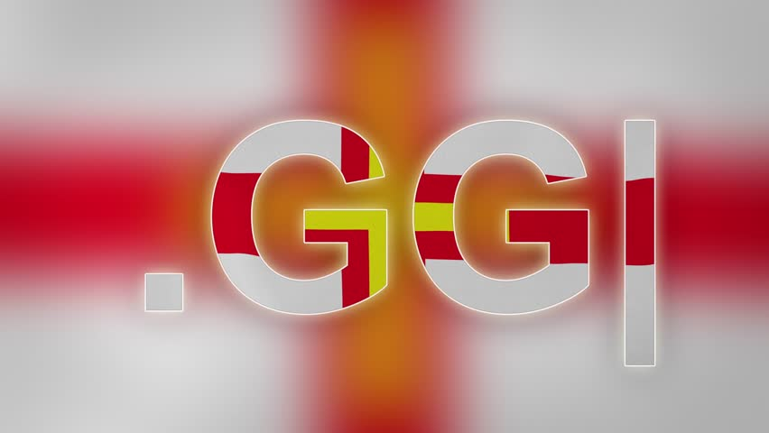 """GG - internet domain of Guernsey. Typing top-level domain """".GG"""" against blurred waving national flag of Guernsey. Highly detailed fabric texture for 4K resolution. Clip ID: ax1061c"""
