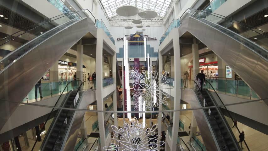 SAINT-PETERSBURG, RUSSIA - JANUARY, 2015: Elevator in the mall. | Shutterstock HD Video #8997646