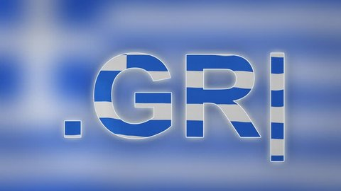 "GR - internet domain of Greece. Typing top-level domain "".GR"" against blurred waving national flag of Greece. Highly detailed fabric texture for 4K resolution. Source: CGI rendering. Clip ID: ax911c"