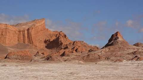 El Valle de la Luna (Valley of the Moon), Atacama desert, Chile. It looks similar to the moon's surface.  A prototype for a Mars rover was tested here because of the valley's dry, forbidding terrains.