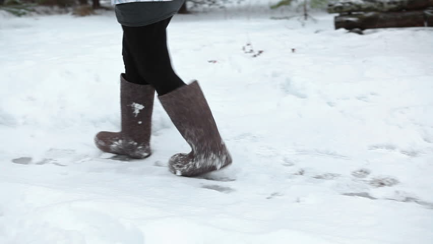 Walking On The Snow In Felt Boots To The Timber House, Russian ...