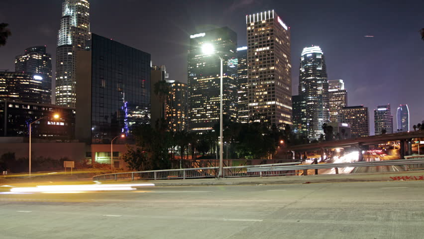 Time lapse of Los Angeles downtown city traffic | Shutterstock HD Video #9027388
