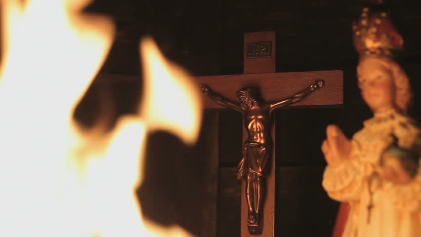 Ave Maria and Jesus Statue with burning flames
