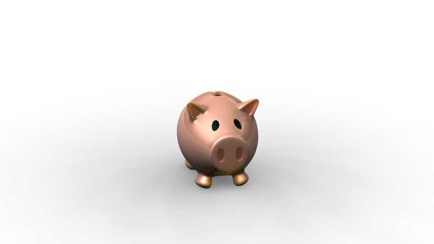 3d rendered film of a cartoon piggybank with gold coins filling it. Savings, money making, finance concept.