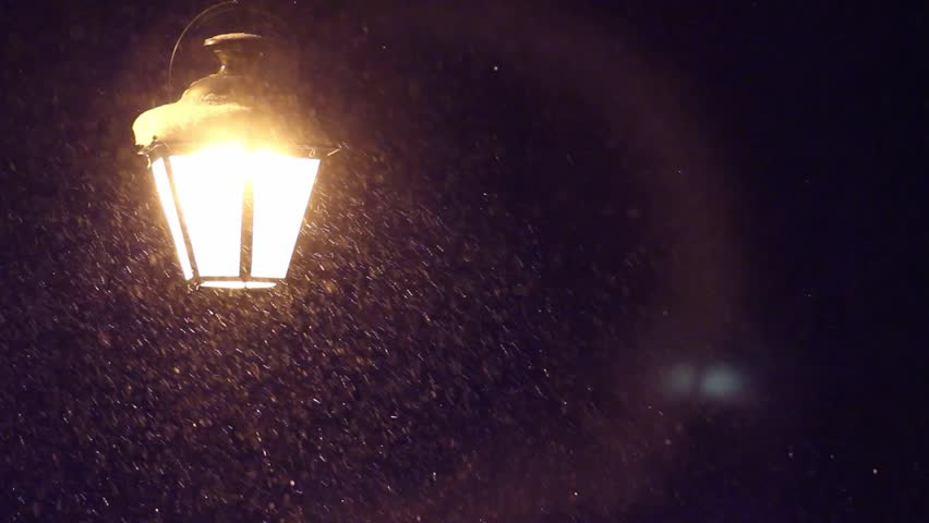 Night Winter Street Lamp With Falling Snow Stock Footage Video 9065138