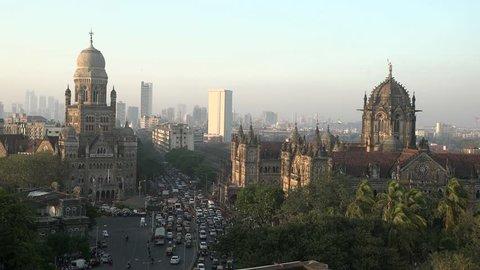 Chhatrapati Shivaji Terminus (CST) formerly Victoria Terminus in Mumbai, India is a UNESCO World Heritage Site and Brihanmumbai Municipal Corporation (BMC) Building, Mumbai in evening.