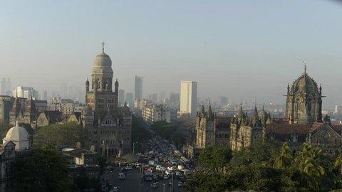 Time lapse video of Chhatrapati Shivaji Terminus (CST) formerly Victoria Terminus in Mumbai, India is a UNESCO World Heritage Site and Brihanmumbai Municipal Corporation (BMC) Building, Mumbai.