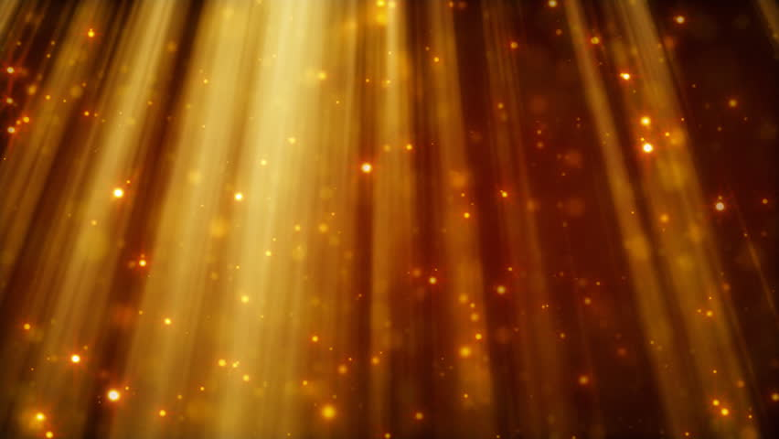 loopable background flying golden particles in light beams