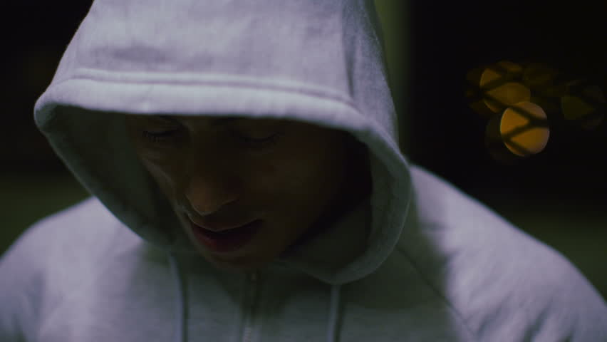4K Slow motion asian athlete breathing heavily after an intense workout, shot on RED EPIC #9092228