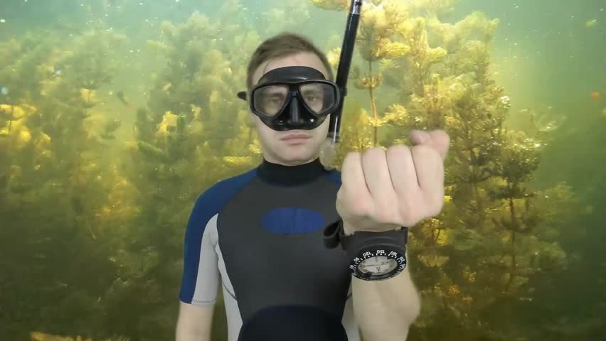Diving sign- divemaster  shows sing  ASK QUASTIONS  ,also a available on the green screen all of diving sings from course (open water diver)   1  of 11