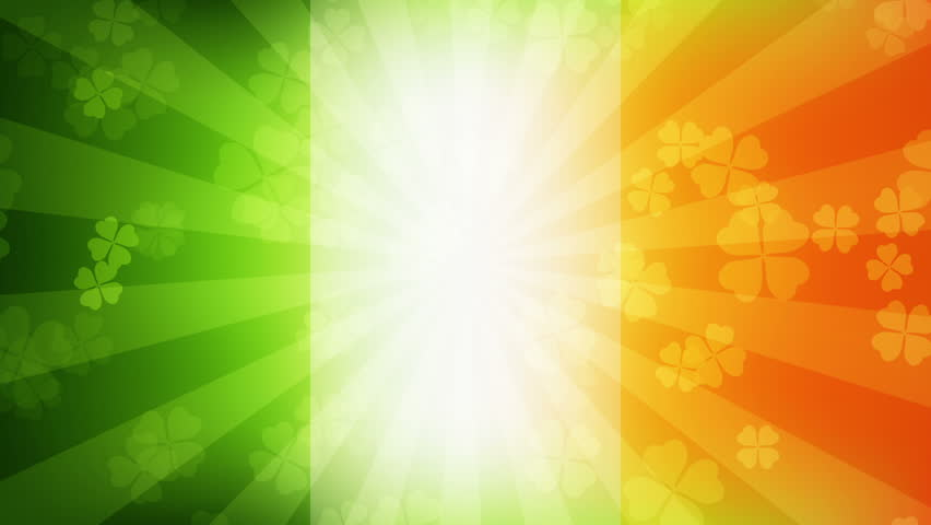 Falling clover leaves on the Irish flag background. Saint Patrick's day (St Patrick's) holiday background. Seamless loop. Different colors background is available. #9120659