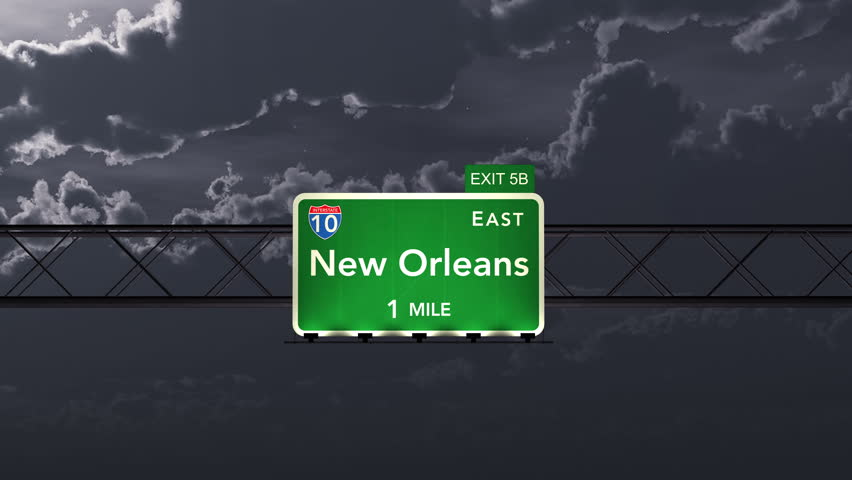 4K Passing under New Orleans USA Interstate Highway Sign at Night with Matte Photo Realistic 3D Animation 4K 4096x2304 ultra high definition