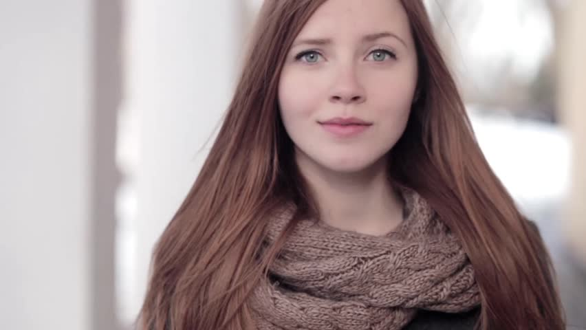66eabd53ce5f3 Young beautiful redhead woman in scarf and grey coat winter park closeup  outdoors