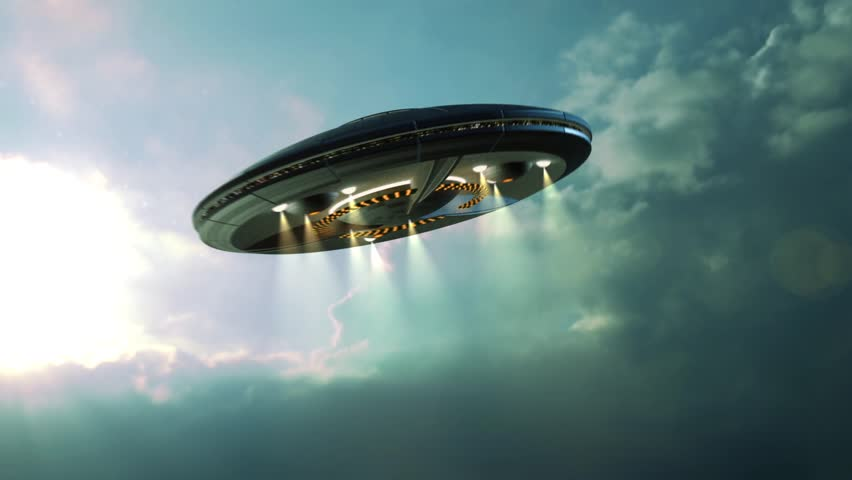 Alien UFO saucer flying through the clouds above Earth