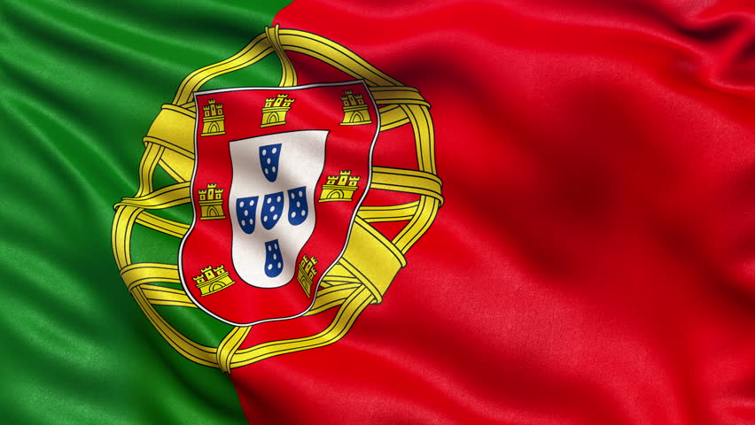 Realistic Ultra-HD flag of Portugal waving in the wind. Seamless loop with highly detailed fabric texture. Loop ready in 4K resolution.