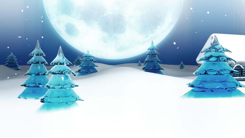 Computer-rendered animation for TV or celebration with peaceful town at Christmas Eve.