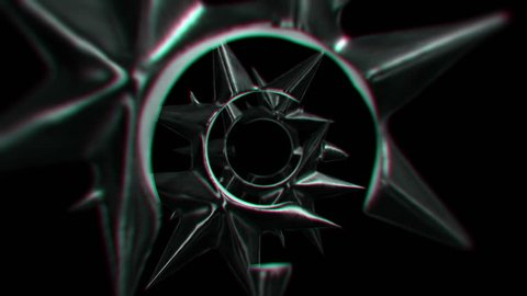 Camera fly through in tunnel of metal, spiky, broken, star-like shapes. Looping on a black background with desaturated look.