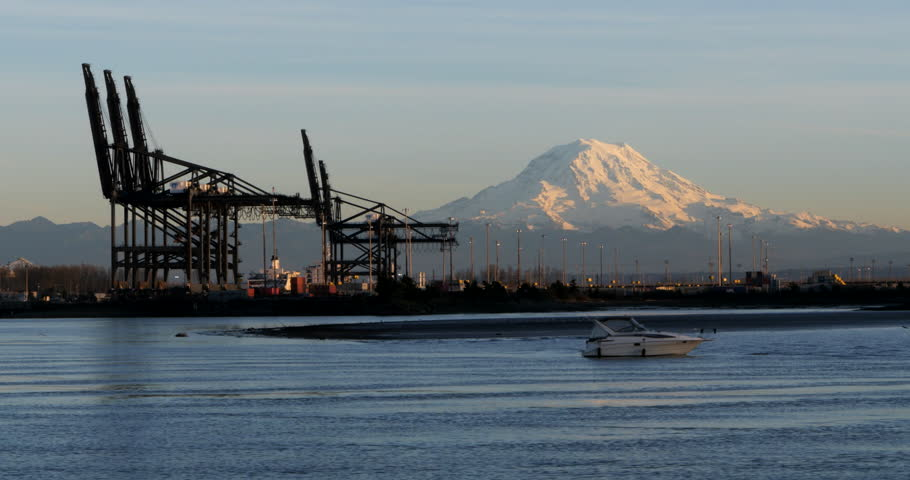 Mount Rainier from Tacoma's Commencement Bay.  Port of Tacoma January 25, 2015