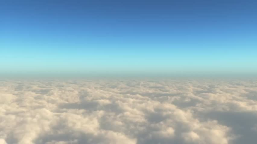 Camera dives into expansive cloud layer and flies through the tops of clouds.