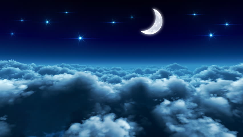 Night Moon Romance Love Stars Sky Clouds Wallpaper: Flying Over The Clouds In The Night With The Moon